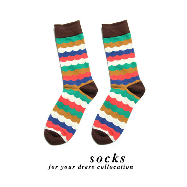 PEONFLY Fashion Men Colorful Lattice Striped Jacquard Art Dress Cotton Socks Multi Pattern Long Funny Happy Skateboard Sock Male
