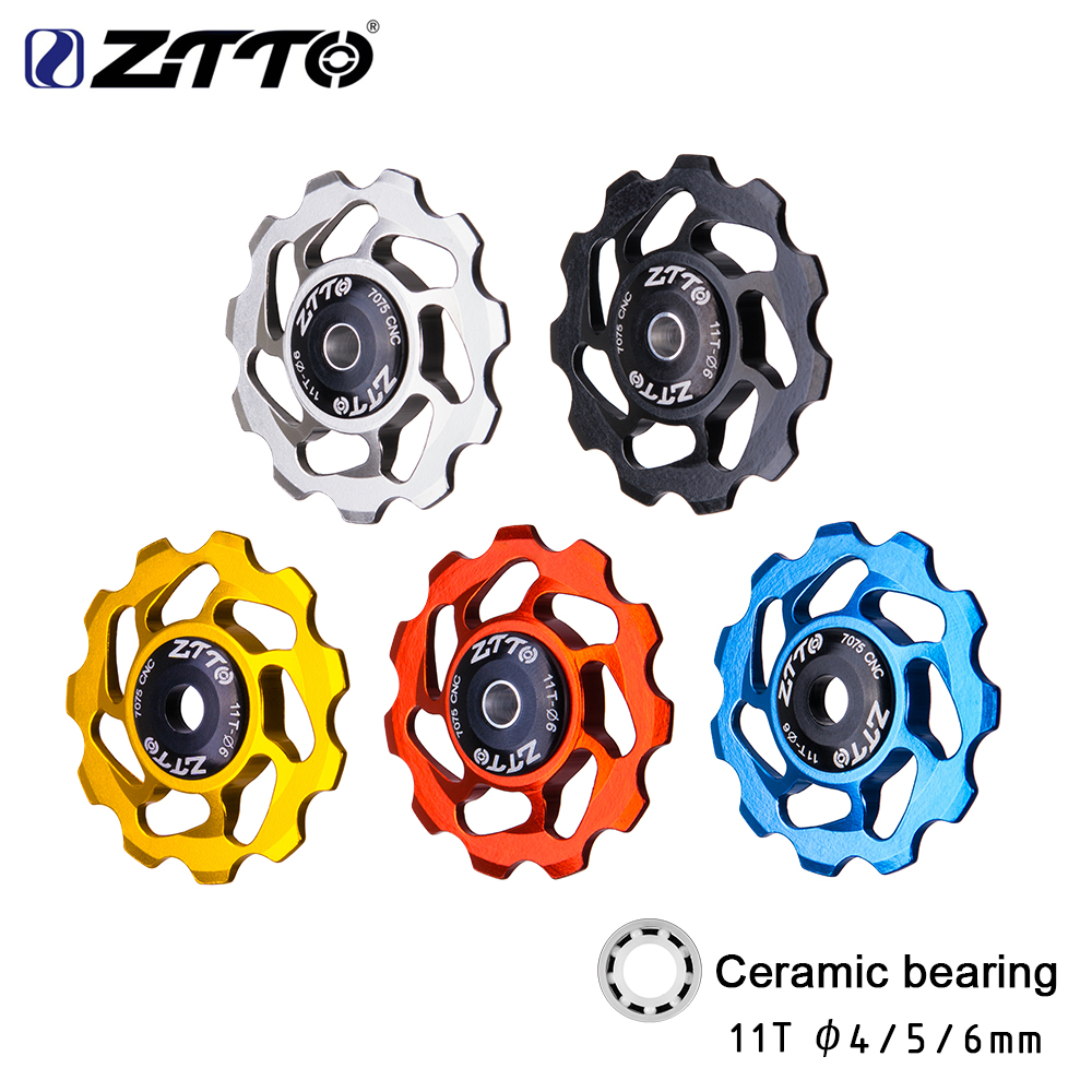 ZTTO 11T MTB Bicycle Rear Derailleur Jockey Wheel Ceramic bearing Pulley AL7075 CNC Road Bike Guide Roller Idler 4mm 5mm 6mm(China)