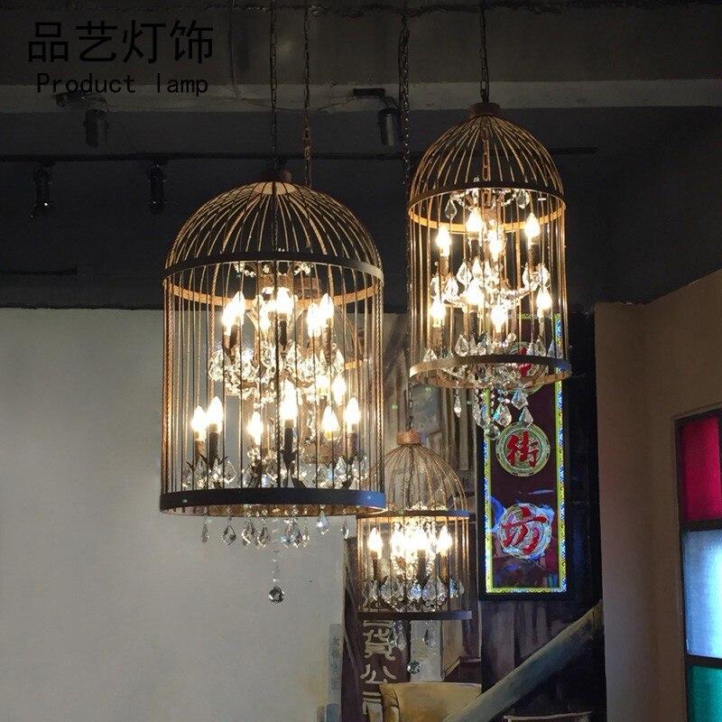 Frank Kristall Vogel Käfig Kronleuchter Schmiedeeisen Amerikanischen Retro Restaurant Bar Kreative Bar Kleidung Shop Industrielle Wind Lampen
