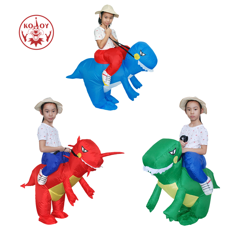 Inflatable Dinosaur Costume Green Blue Red Factory Outlet Children Halloween Cosplay Ride on Dino Costumes Kids Clothing