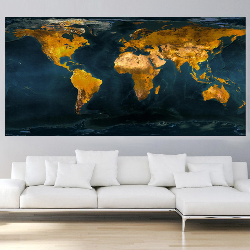 Abstract Vintage Gold Globe World Map Oil Painting HD Print On Canvas Art Modern Wall Picture for Office Room Cuadros Decor (2)
