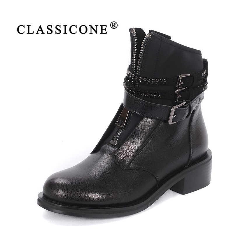 7e044289961f90 CLASSICONE 2018 женская обувь стильные ботинки Черный цвет весна осень Натуральная  Кожа Удобная колодка Плоская подошва