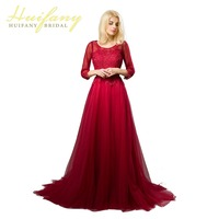Red Long Evening Dresses 3 4 Sleeves Keyhole Back Lace Up Tulle Wedding Party Dresses Appliques