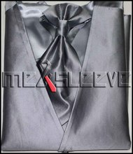 free shipping cheap men's waistcoat for party(vest+ascot tie+handkerchief+cufflinks)