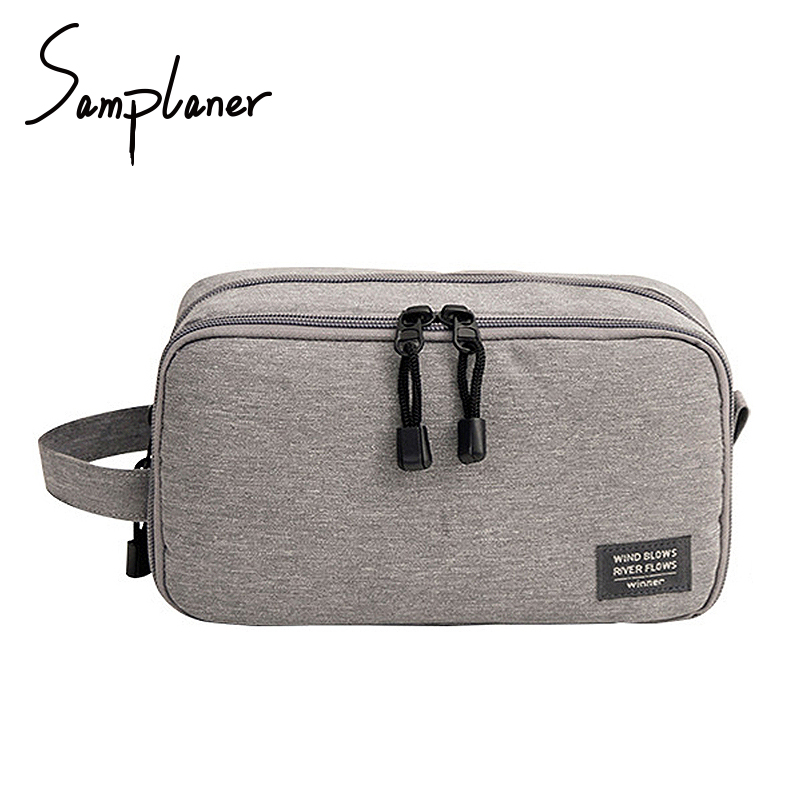 Samplaner High Quality Polyester Men Wash Bag For Travel Women Cosmetics Case Travelling Organizer Makeup Bags Necessaries Pouch polo authentic high quality golf gun bags pu waterproof laoke lun men travelling cover 8 9 clubs 123cm golf bolsa de sport bag