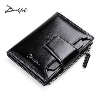 DEELFEL Genuine Leather Men Wallets Short Coin Purse Small Vintage Wallet Cowhide Leather Card Holder Pocket Purse Men Wallets leather