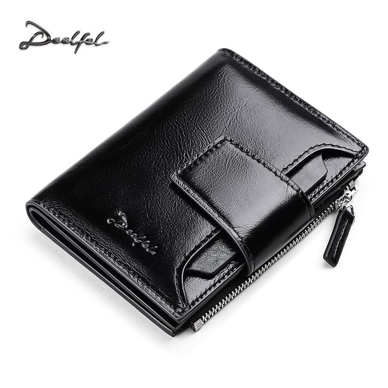 DEELFEL Genuine Leather Men Wallets Short Coin Purse Small Vintage Wallet Cowhide Leather Card Holder Pocket Purse Men Wallets
