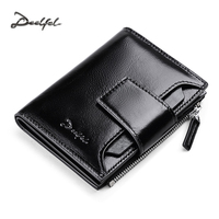 DEELFEL New Business Mens Wallets Leather Genuine Luxury Brand Short Wallet Hasp Zipper Small Men S
