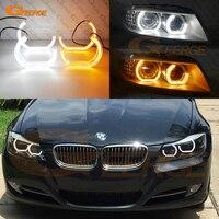 Для BMW 3 серии E90 E91 2009-2012 ксенон отличное dtm M4 Стиль LED Ангел глаз Комплект двойной белый янтарь горки