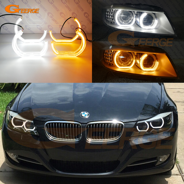 for bmw 3 series e90 e91 2009 2012 xenon headlight excellent dtm m4 style led angel eye kit dual. Black Bedroom Furniture Sets. Home Design Ideas