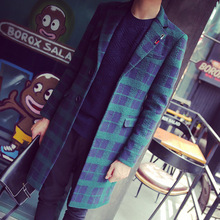 2017 Autumn Winter Men Wool  Plaid Long Coats Jackets Single Breasted Overcoat Turn-Down Collar Trench Casual male Coats BXL118