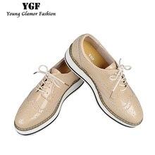 YGF Натуральная Кожа Квартиры Туфли На Платформе Женщины Классические Башмаки Оксфорд Обувь для Женщин 2017 Весна Лето кружева Повседневная Обувь