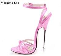Moraima Snc striped high heel Buckle sandals open toe fashion women slingback stilettos Ankle strap Narrow Band Decoration