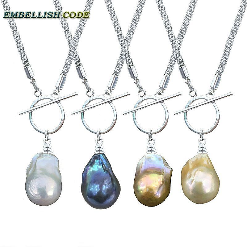 new iq circle clasp design baroque pearl pendant necklace flame ball shape 4 color durable chain