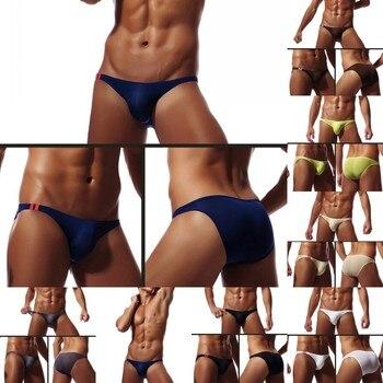 2019 New 7 Colors Male Sexy Brief Breathable Ultra Thin Smooth Brief Summer Brief U Convex Underwear For Men M~2XL фото