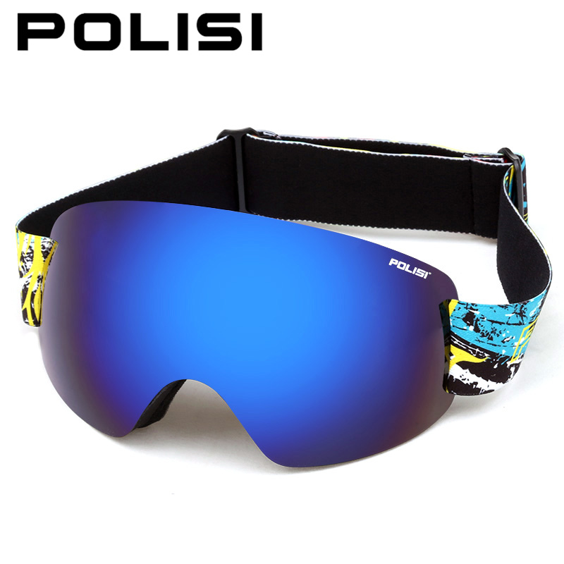 POLISI Professional Snow Skiing Eyewear Ski Goggles UV Protection Double Layer Anti-Fog Lens Winter Snowboard Glasses, Blue Lens polisi brand new designed anti fog cycling glasses sports eyewear polarized glasses bicycle goggles bike sunglasses 5 lenses
