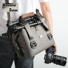 Men Women Professional Waterproof Cotton Canvas Genuine leather Shoulder Photo Camera Case Bag For Canon Nikon Sony GW-CB 04