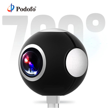 Podofo мини панорамная видеокамера 360 Камера широкий двойной угол рыбий глаз линзы ограниченного видения Видео Камера смартфон ВР Тип с портом типа C Спортивная Экшн-камера с поддержкой OTG