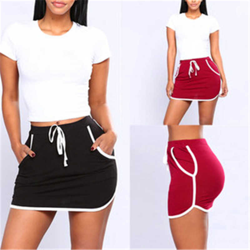 Summer Women Joggers Fitness Skirt With Pockets New Ladies Sexy Skirt White Sides Swearpants High Elastic Waist Short Skirts
