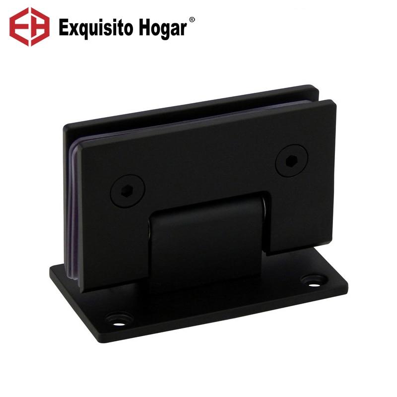 Bisagra de puerta de ducha de cristal negro con montaje en pared de acero inoxidable 304 para baños y puertas de cristal (90 grados abiertos)