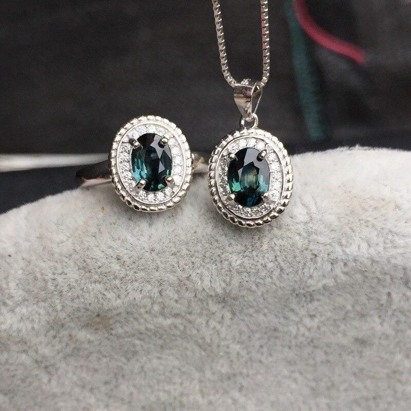 KJJEAXCMY joyería fina 925 incrustaciones de plata zafiro colorido Natural 1 quilate Jade conjunto de joyería de las mujeres impecable - 3