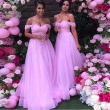 Off The Shoulder Long Pink Bridesmaid Dress Lace Appliques A Line Discount Formal Bridesmaids Gown Custom Made  TB1636