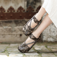Artmu Flowers Genuine Leather Split Toes Rear Zipper Comfortable Retro Handmade Women Shoes Flat Sole Shoes 2028 50