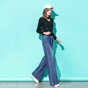 Image 4 - Femmes taille haute maman jean Denim cordon large jambe jean bleu ample Palazzo pantalon 2019 automne mode petit ami jean Mujer
