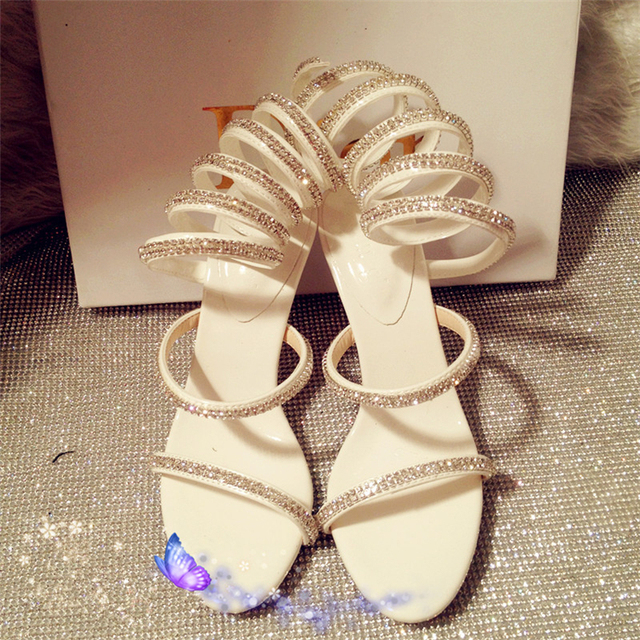 Exclusive Desig Sexy Handmade Wedding Shoes Winding Snake Sandals Crystal High Heels Bridal Roman Style