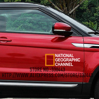 2 Pieces NATIONAL GEOGRAPHIC CHANNEL Sticker on Car DOOR Car decoration reflective sticker Car decal sticker
