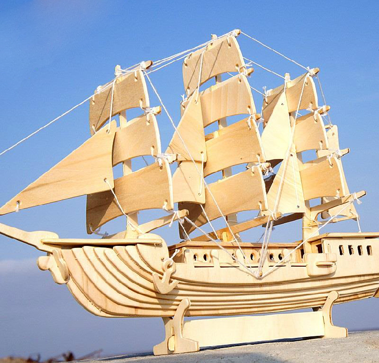 BOHS Wooden European Sailing Boat Ship 3D Puzzle Building Scale Model & Building DIY Toys