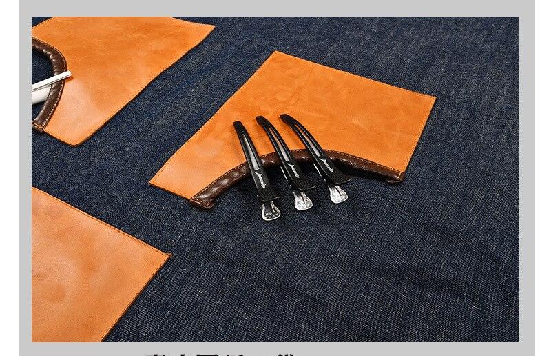 Denim Cucina Grembiule da Cucina con Regolabile Cinghia di Cotone di Grandi Dimensioni Tasche Blu Barista Gli Uomini e Le Donne Homewear - 5