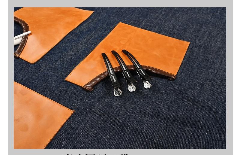 Denim Küche Kochen Schürze mit Einstellbare Baumwolle Band Große Taschen Blau Barista Männer und Frauen Homewear - 5