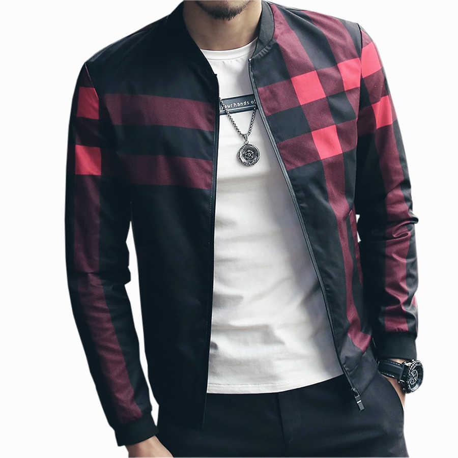 チェック柄のジャケット男性ボンジャケットファッションスリムメンズジャケットとコート Chaquetas Hombres Jaquetas 爆撃機マンプラスサイズ 5XL