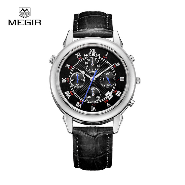Часы мужчины военная стильный MEGIR бренд дизайн армии бизнес календарь мужчины мужской часы спорт кожа наручные часы 2013