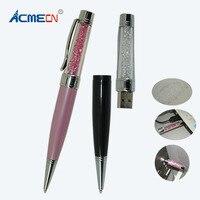 ACMECN Universal Crystal Ball Pen with USB Flash Drive Metal Bling Diamond Mixed Color Multi function Pen 8G Memory USB Pen