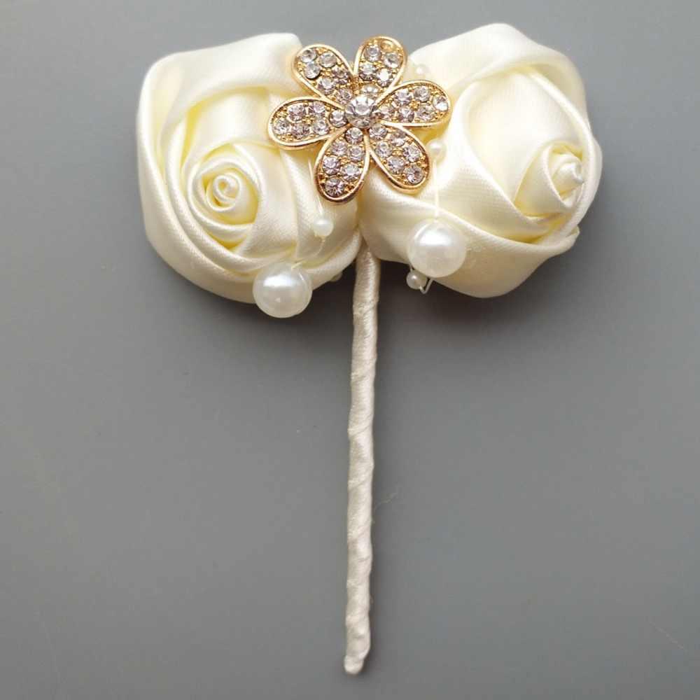 (زهرة المعصم و boutonniere) العاج محاكاة الوردي العاج الزفاف باقة الزفاف الذهبي الماس الزفاف باقة مجموعة W242-T