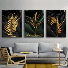 Leaves Painting Gold Wall Art Canvas Prints Modern Posters And Abstract Black Living Room Pictures Unframed
