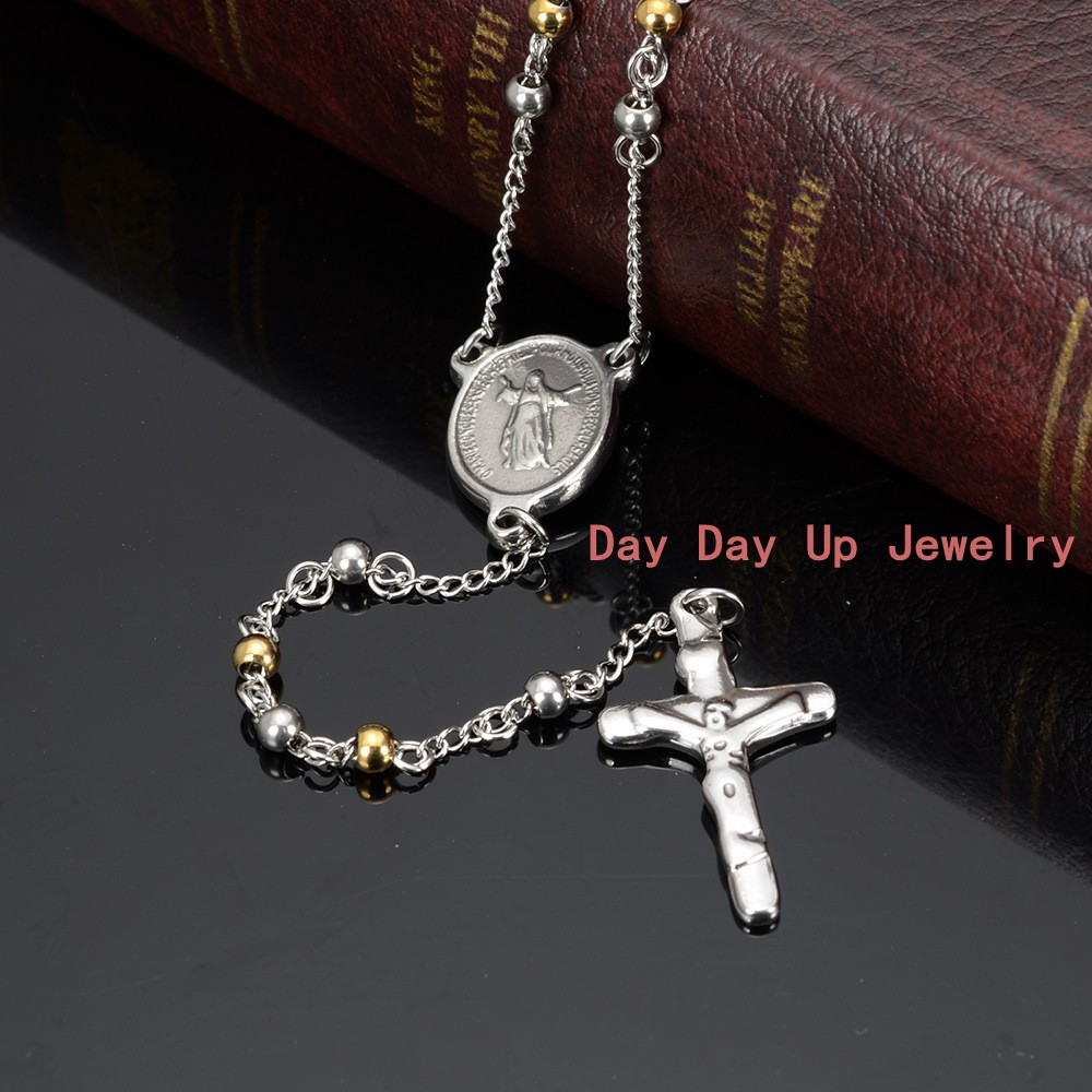 "25+5/""MEN Stainless Steel 4mm Silver Beads Cross Rosary Necklace"