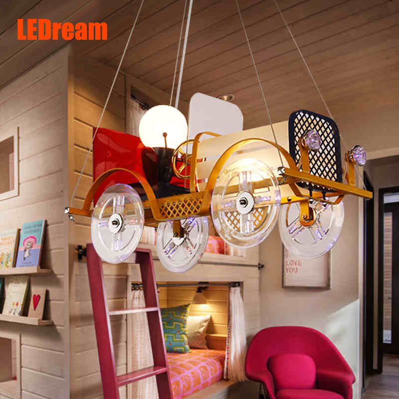 Creative cartoon car chandelier LED to children room children's clothing store lighting Boys and girls bedroom lamps and lantern vintage clothing store personalized art chandelier chandelier edison the heavenly maids scatter blossoms tiny cages