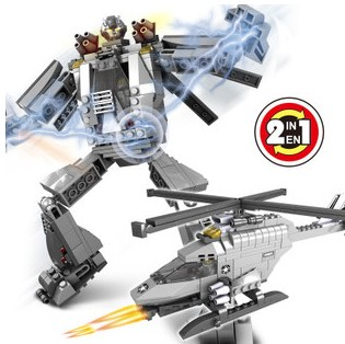 QIAOLETONG TS30101-02 Robot and Helicopter 2 in1 241pcs Plastic Building Block Sets Educational DIY Bricks Toys for children