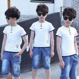 Image 5 - 5 14 שנים בני בגדי ספורט חליפת סט 2018 קיץ אופנה מזדמן קצר שרוול בגדי ילדים חולצה + ג ינס סט