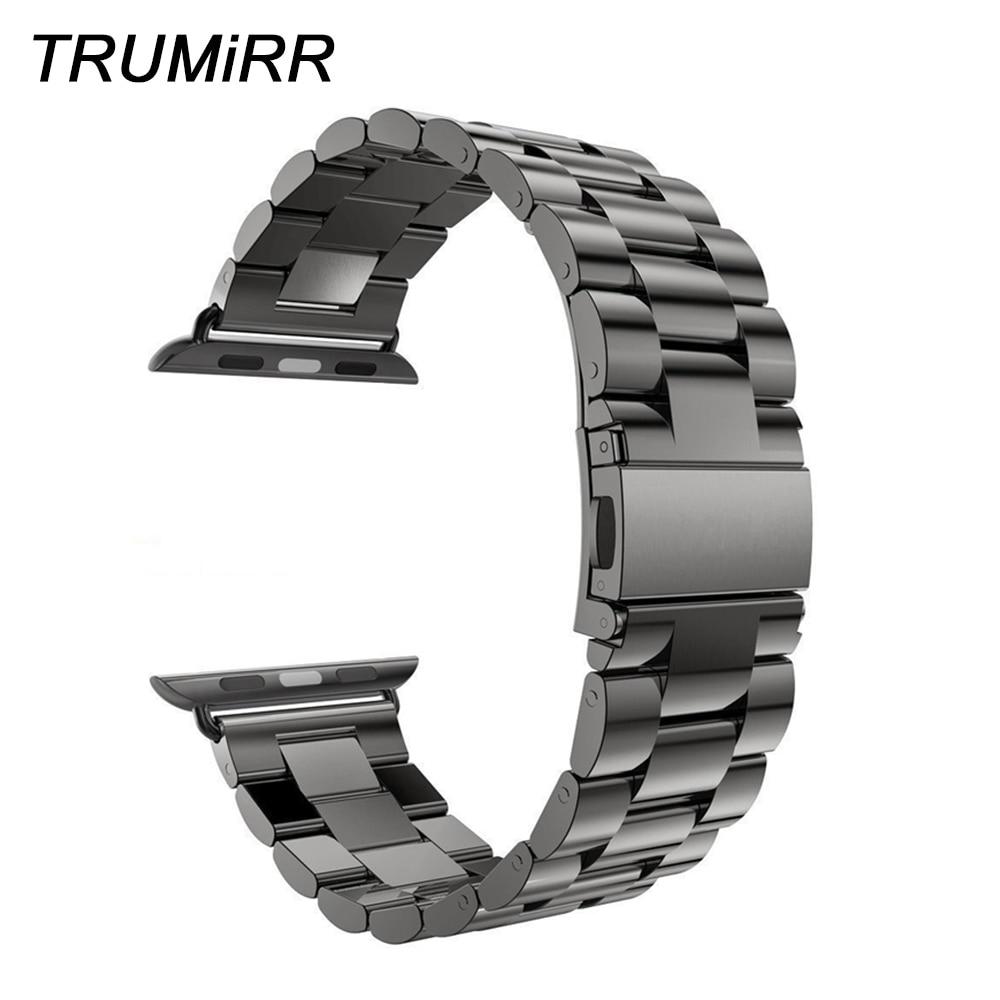 Correa de reloj de acero inoxidable para iWatch Apple Watch 38mm 40mm 42mm 44mm Series 4 3 2 1 pulsera deportiva correa negra de plata