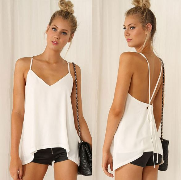 Women Plus Size Summer White Tank Tops Girl Sexy Backless Loose