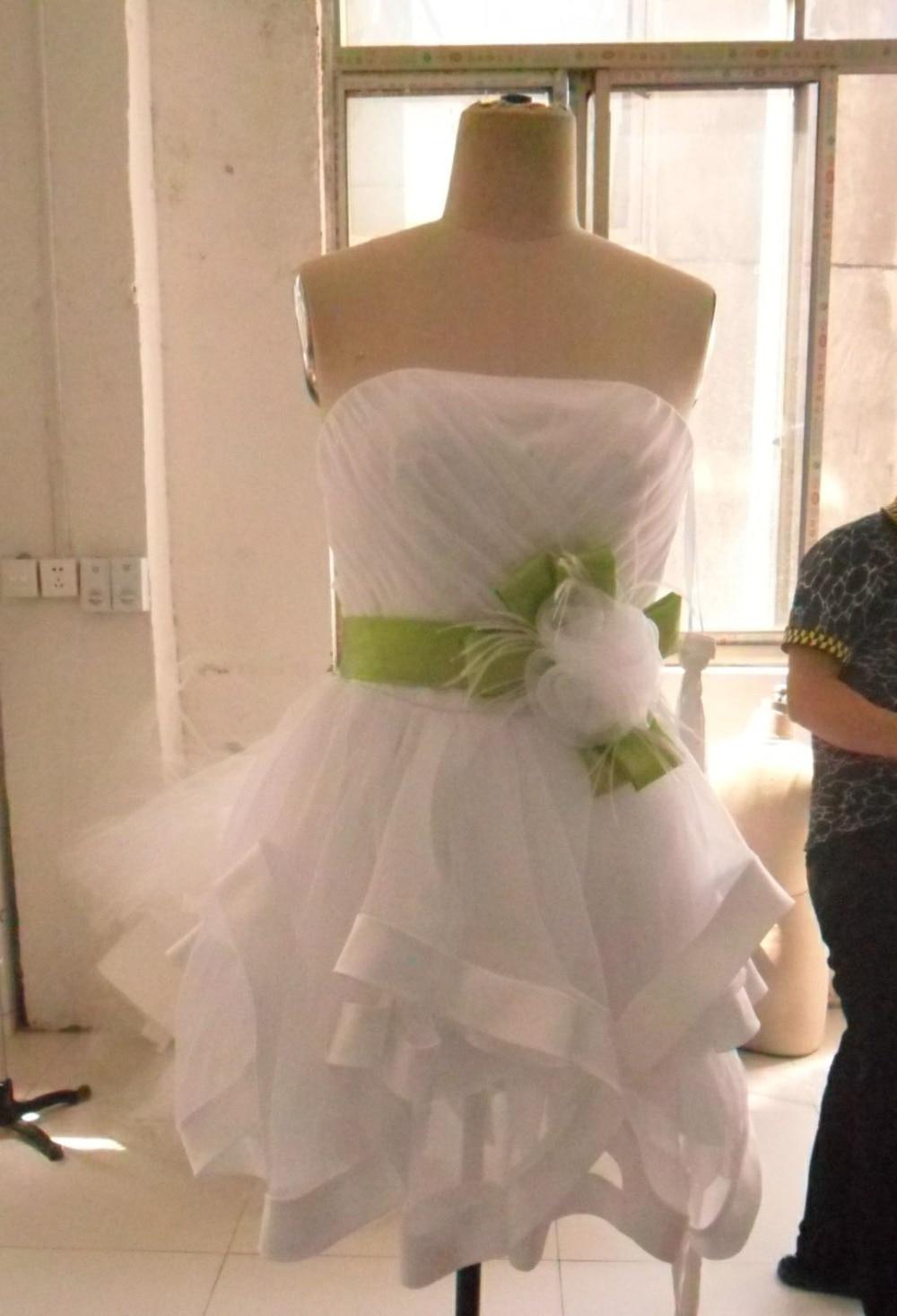 Livraison gratuite bretelles chérie vert sash robes de cocktail courte de bal robes de soirée 2017 nouveau modèles font personnalisé - 2