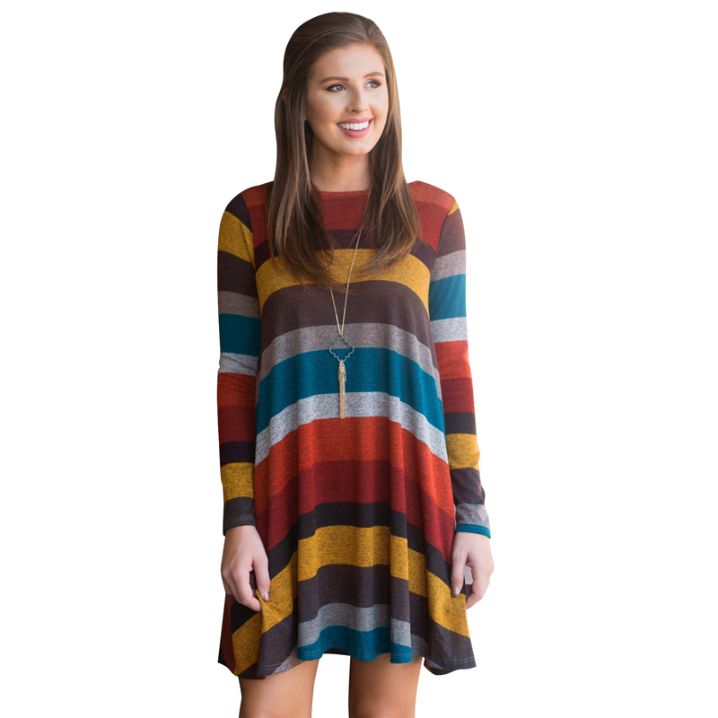 Winter Long Sleeve Striped Dresses Autumn Maternity Knitted Pregnant Clothes Dresses For Pregnancy Woman