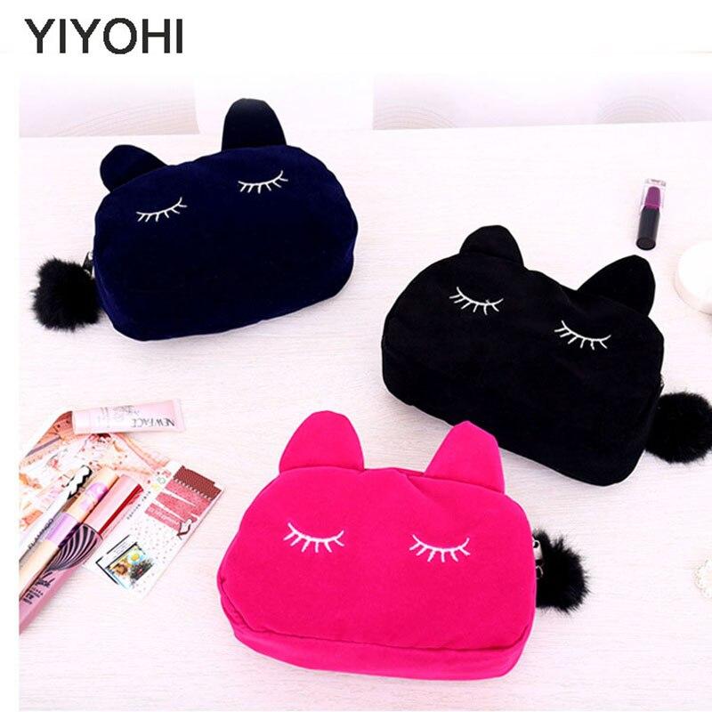 YIYOHI New Cute Cat Lady Cosmetic Bag Pouch Makeup Bag Women Cosmetic Makeup Case Travel Organizer Cute Cat Organizador