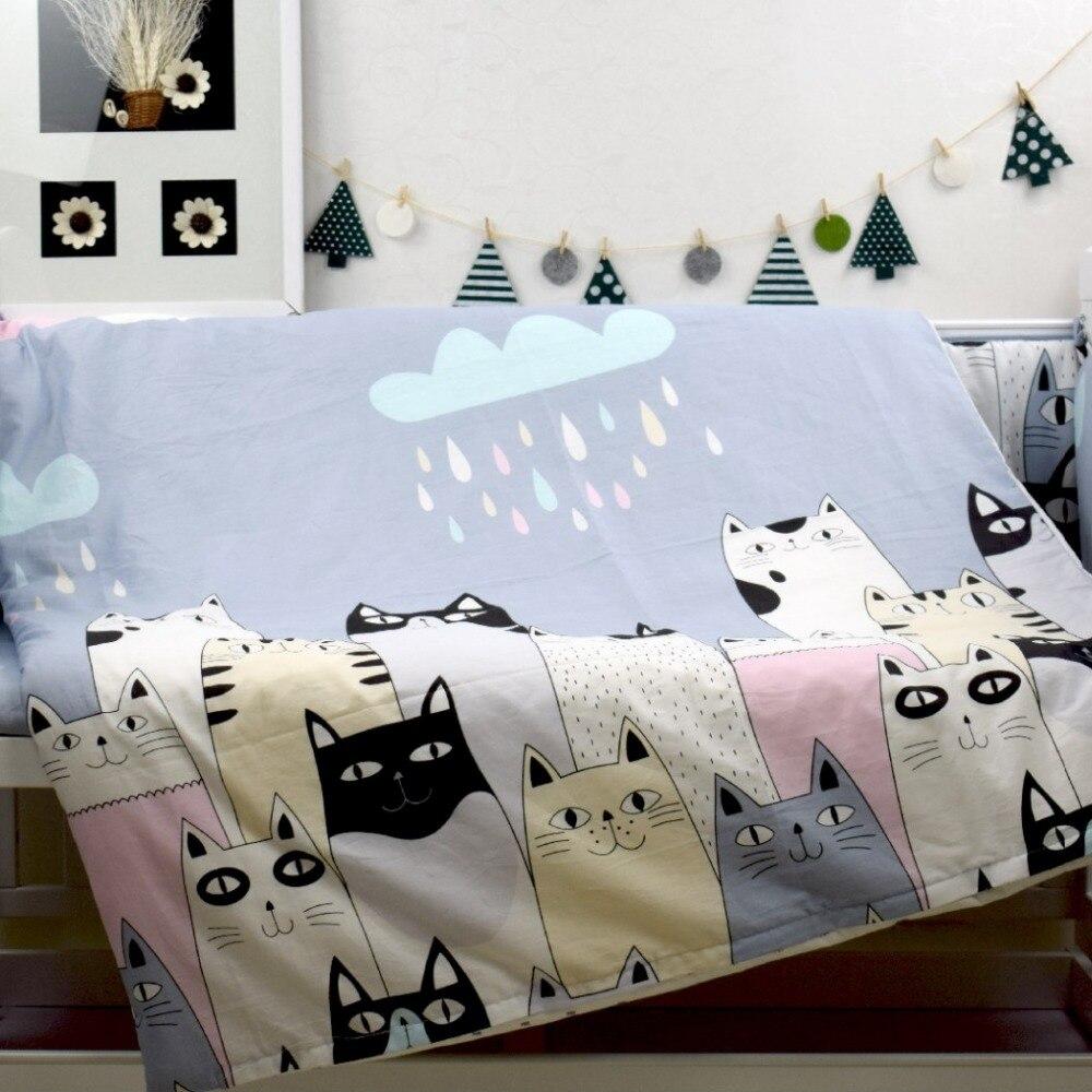 Baby bed linen set - 3 Pcs Set Crib Bedding Set 100 Cotton Baby Bedding Pink Bear Clouds Black