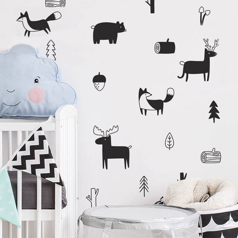 Us 5 39 45 Off Vinyl Forest Animal Wall Decals Woodland Tree Nursery Art Stickers Children Room Home Furnishing Decoration Sticker In