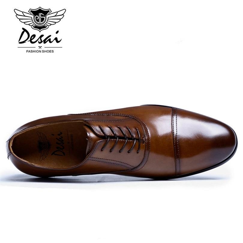 DESAI marque en cuir pleine fleur hommes d'affaires chaussures habillées rétro en cuir verni Oxford chaussures pour hommes taille EU 38-47 - 4